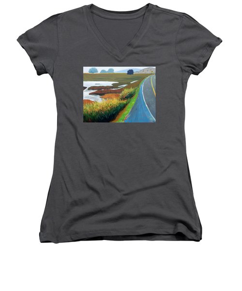 Women's V-Neck T-Shirt (Junior Cut) featuring the painting Heading North by Gary Coleman