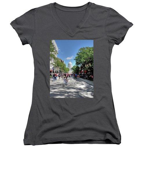 Heading To Camp Randall Women's V-Neck T-Shirt (Junior Cut) by David Bearden