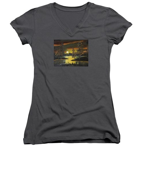 Women's V-Neck T-Shirt (Junior Cut) featuring the painting Headwaters Sunset 160115 by Jack G Brauer