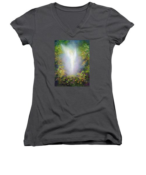 Healing Angel Women's V-Neck T-Shirt (Junior Cut) by Marina Petro