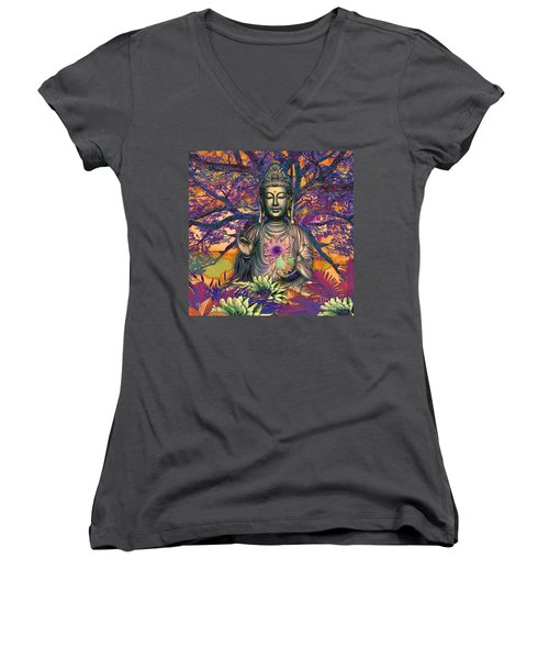Healing Nature Women's V-Neck (Athletic Fit)