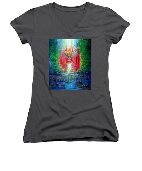 Women's V-Neck T-Shirt (Junior Cut) featuring the painting Healing Waters by Heather Calderon
