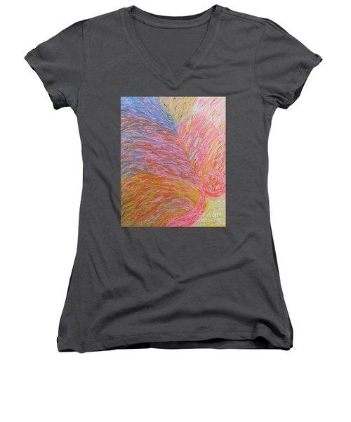 Heart Burst Women's V-Neck T-Shirt (Junior Cut) by Rachel Hannah