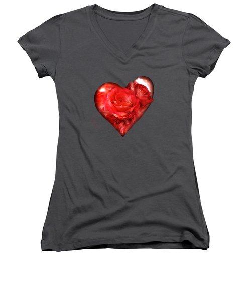 Heart Of A Rose - Red Women's V-Neck
