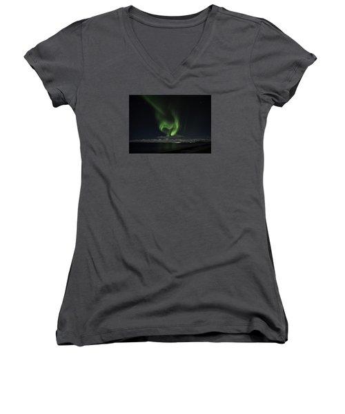 Heart Of Northern Lights Women's V-Neck T-Shirt (Junior Cut) by Frodi Brinks
