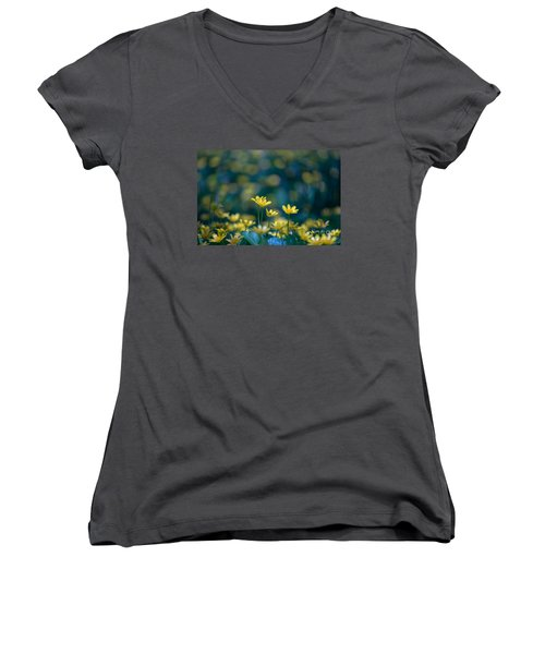 Women's V-Neck T-Shirt (Junior Cut) featuring the photograph Heart Of Small Things by Rima Biswas