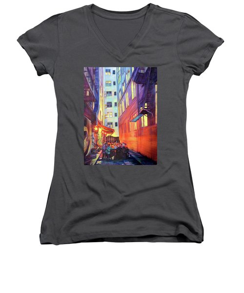 Heart Of The City Women's V-Neck T-Shirt (Junior Cut) by Bonnie Lambert