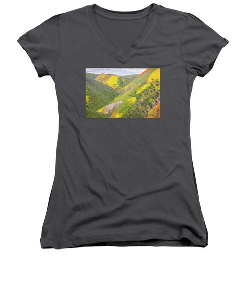 Women's V-Neck T-Shirt (Junior Cut) featuring the photograph Heart Of The Temblor Range by Marc Crumpler