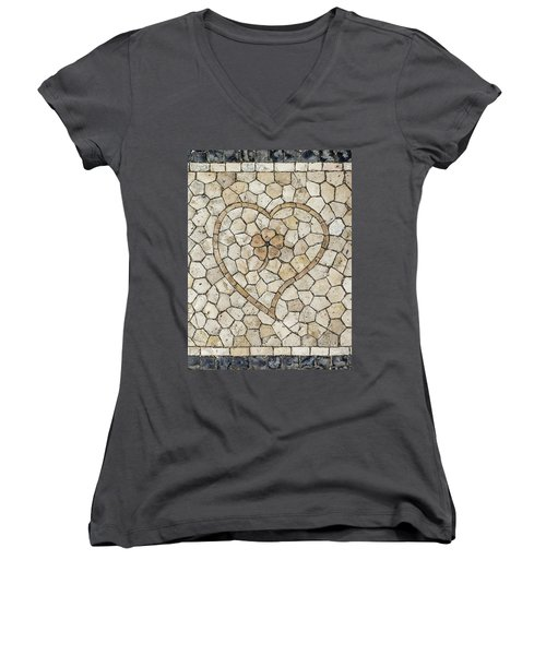 Heart Shaped Traditional Portuguese Pavement Women's V-Neck (Athletic Fit)