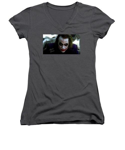 Heath Ledger Joker Why So Serious Women's V-Neck T-Shirt (Junior Cut) by David Dehner