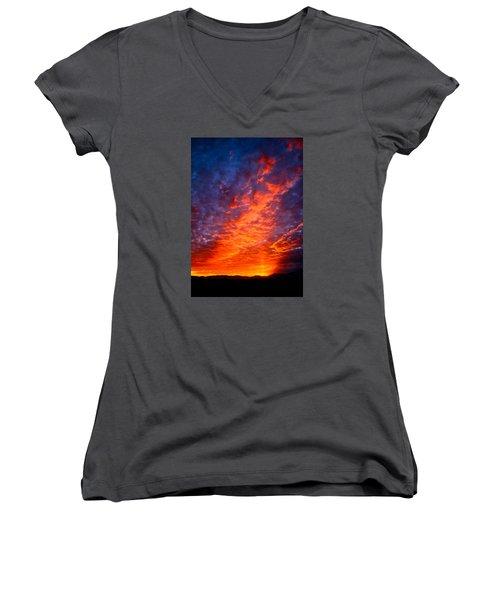 Heavenly Flames Women's V-Neck T-Shirt (Junior Cut) by Paul Marto