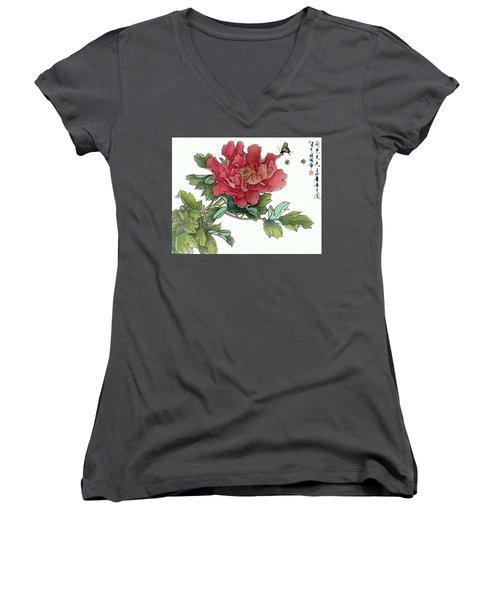 Heavenly Flower Women's V-Neck T-Shirt (Junior Cut) by Yufeng Wang