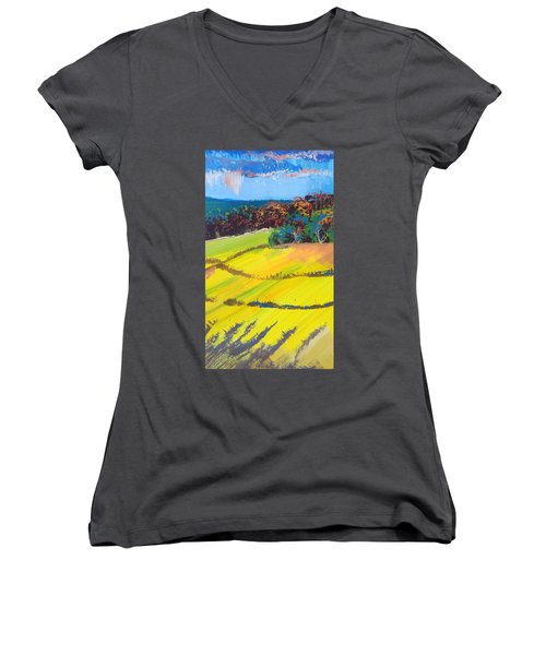 Heavenly Haldon Hills - Colorful Trees Landscape Painting Women's V-Neck