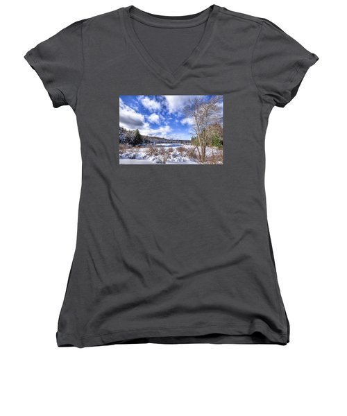 Women's V-Neck T-Shirt (Junior Cut) featuring the photograph Heavy Snow At The Green Bridge by David Patterson