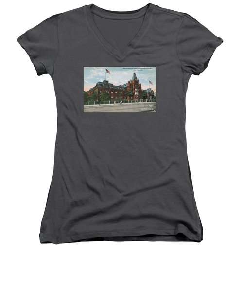 Women's V-Neck T-Shirt featuring the photograph Hebrew Orphan Asylum by Cole Thompson