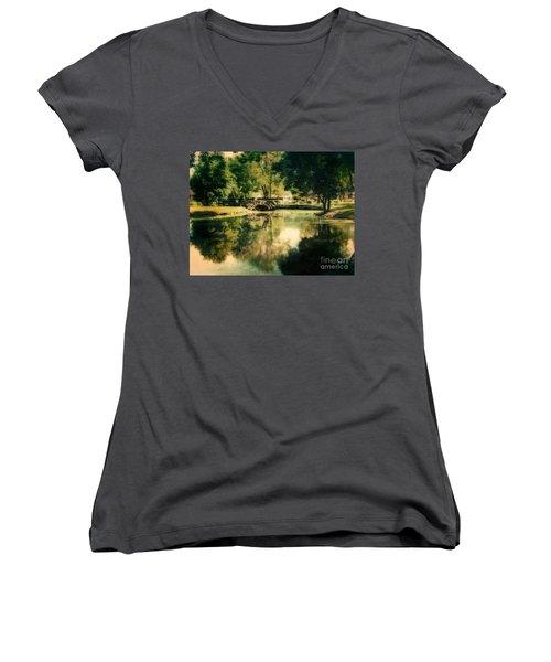 Heckscher Park Pond, Huntington Ny Women's V-Neck