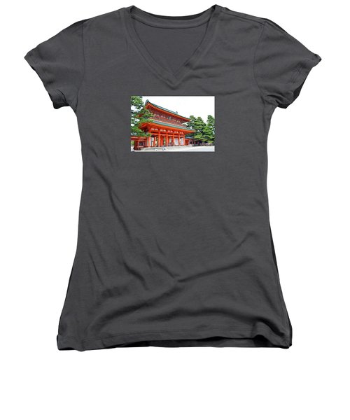 Heian Shrine And Okazaki Park  Women's V-Neck T-Shirt (Junior Cut)