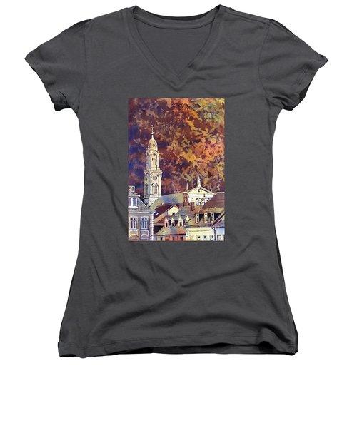 Women's V-Neck T-Shirt (Junior Cut) featuring the painting Heidelberg Evening by Ryan Fox