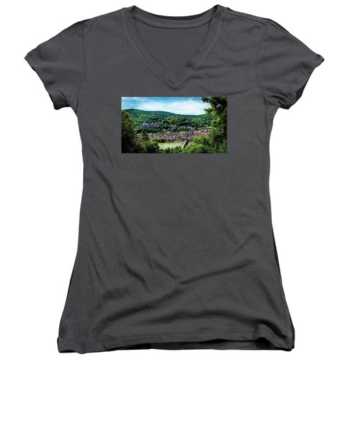 Women's V-Neck T-Shirt (Junior Cut) featuring the photograph Heidelberg Germany by David Morefield