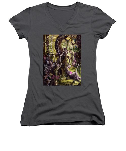 Women's V-Neck T-Shirt (Junior Cut) featuring the painting Heist Of The Wizard's Staff by Curtiss Shaffer