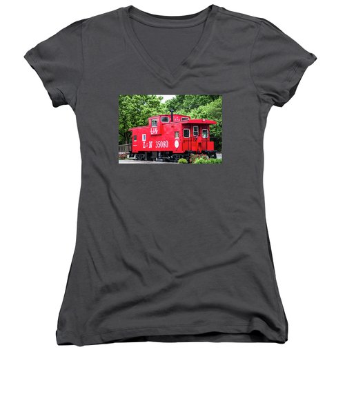 Women's V-Neck T-Shirt (Junior Cut) featuring the photograph Helena Red Caboose by Parker Cunningham