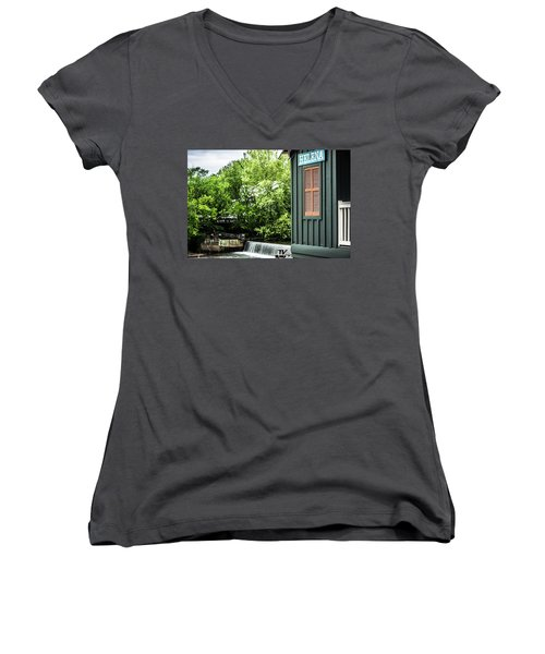 Women's V-Neck T-Shirt (Junior Cut) featuring the photograph Helena Sign By Buck Creek by Parker Cunningham