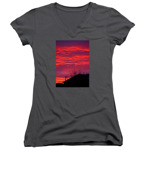 Women's V-Neck T-Shirt (Junior Cut) featuring the photograph Hell Over Ontario by Valentino Visentini