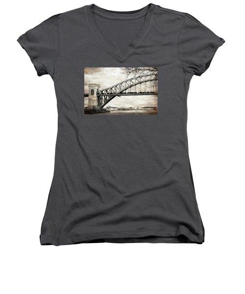 Hellgate Bridge In Sepia Women's V-Neck