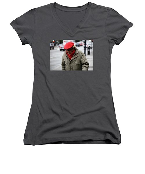 Women's V-Neck T-Shirt (Junior Cut) featuring the photograph Hello Bonjour  by Empty Wall