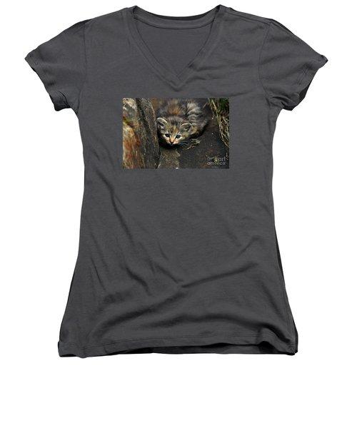 Hello Little Kitty Women's V-Neck T-Shirt