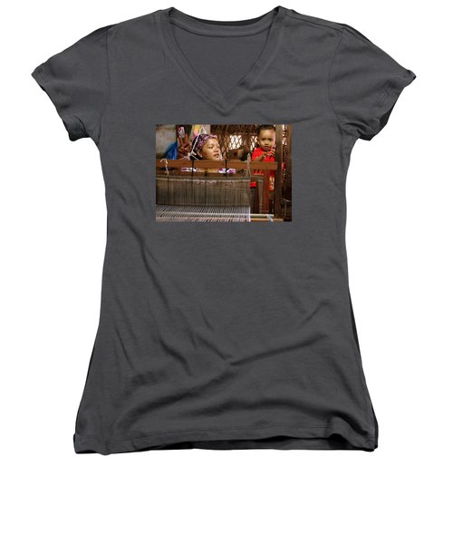 Women's V-Neck T-Shirt (Junior Cut) featuring the photograph Helping Mom With The Weaving by Laurel Talabere
