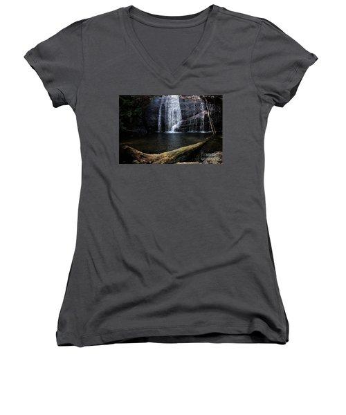 Helton Creek Falls Georgia Women's V-Neck T-Shirt (Junior Cut)