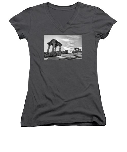 Women's V-Neck T-Shirt (Junior Cut) featuring the photograph Hemakuta Hill, Hampi, 2017 by Hitendra SINKAR
