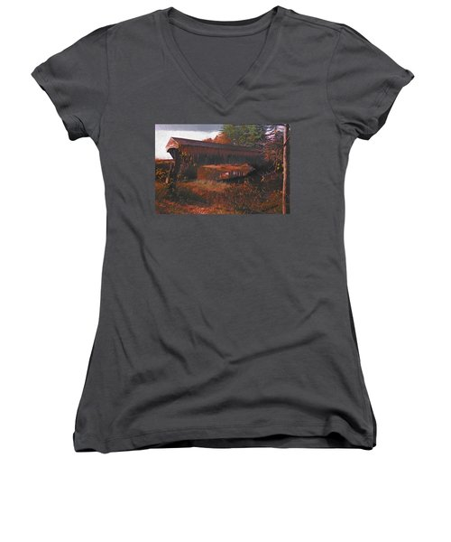 Hemlock Covered Bridge Women's V-Neck (Athletic Fit)