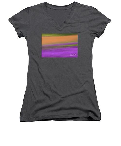 Women's V-Neck T-Shirt (Junior Cut) featuring the photograph Henbit Abstract - D010049 by Daniel Dempster