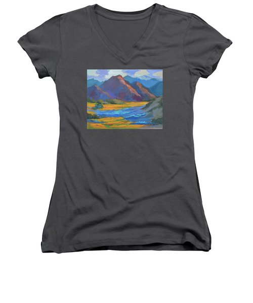 Women's V-Neck T-Shirt (Junior Cut) featuring the painting Henderson Canyon Borrego Springs by Diane McClary