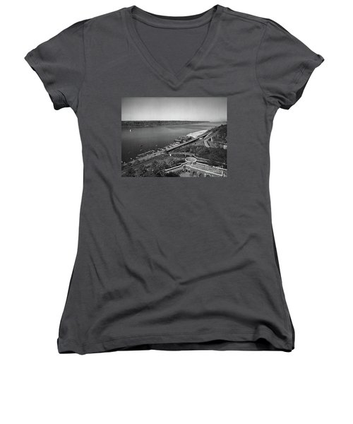 Henry Hudson Parkway, 1936 Women's V-Neck T-Shirt (Junior Cut) by Cole Thompson