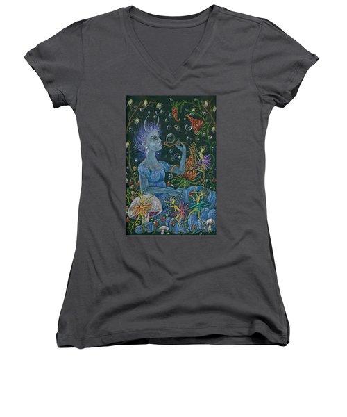 Her Caterpillar Majesty Women's V-Neck T-Shirt (Junior Cut) by Dawn Fairies