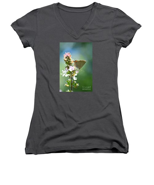 Herb Visitor Women's V-Neck T-Shirt (Junior Cut) by Debbie Green