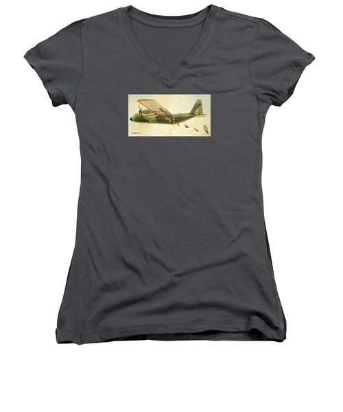 Women's V-Neck T-Shirt (Junior Cut) featuring the painting Hercules Paratroop Drop by Paul Clinkunbroomer