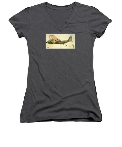 Hercules Paratroop Drop Women's V-Neck T-Shirt