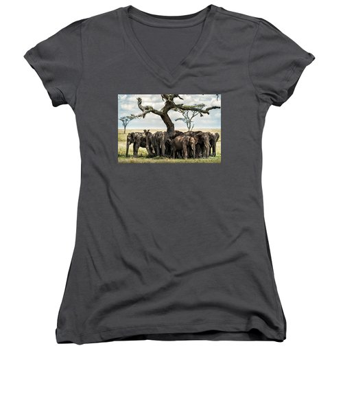Herd Of Elephants Under A Tree In Serengeti Women's V-Neck