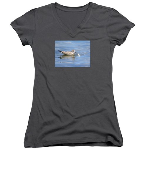 Women's V-Neck T-Shirt (Junior Cut) featuring the photograph Here Fishy Fishy by Phyllis Beiser