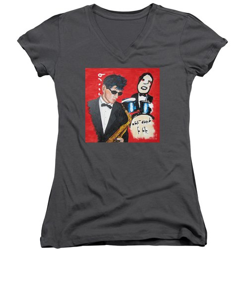 Herman Brood Jamming With His Art Women's V-Neck (Athletic Fit)