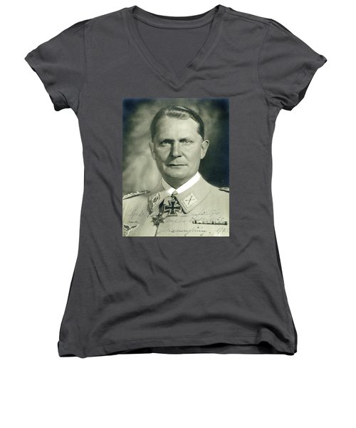 Herman Goering Autographed Photo 1945 Color Added 2016 Women's V-Neck