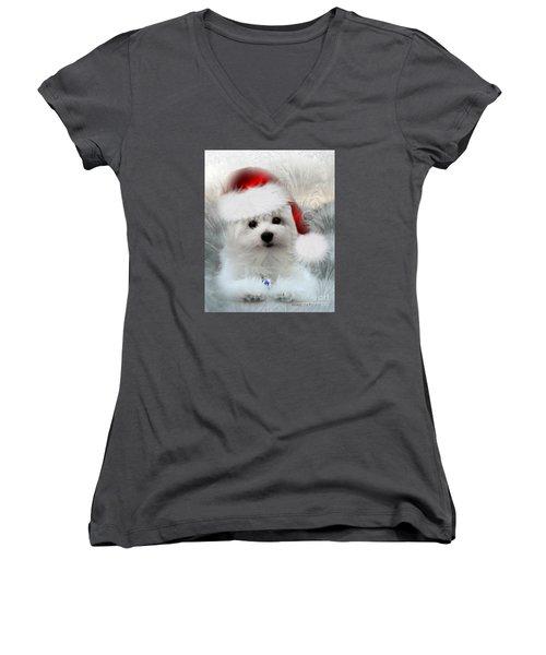 Hermes The Maltese At Christmas Women's V-Neck T-Shirt