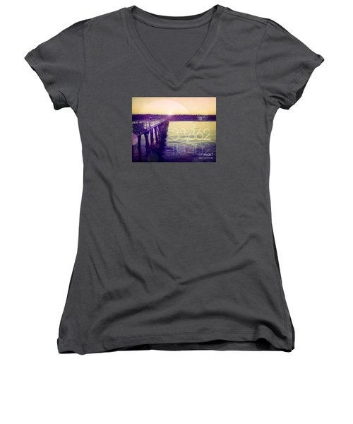 Women's V-Neck T-Shirt (Junior Cut) featuring the photograph Hermosa Beach California by Phil Perkins