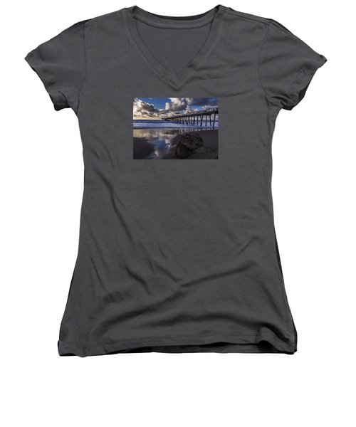 Hermosa Beach Pier Women's V-Neck T-Shirt (Junior Cut) by Ed Clark
