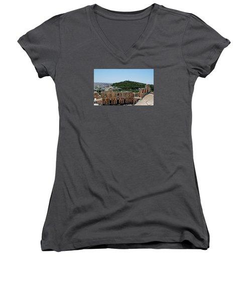 Women's V-Neck T-Shirt (Junior Cut) featuring the photograph Herodeons Amphitheatre by Robert Moss