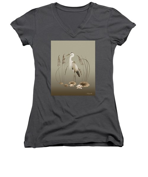 Heron And Lotus Flowers Women's V-Neck